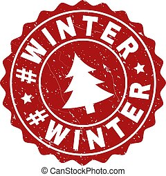 #WINTER Grunge Stamp Seal with Fir-Tree