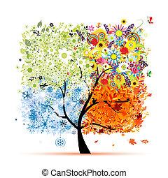 winter., gyönyörű, művészet, eredet, ősz, -, fa, négy, tervezés, fűszerezni, -e, nyár
