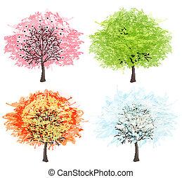 winter., gyönyörű, művészet, illustration., eredet, ősz, -, fa, négy, vektor, fűszerezni, -e, nyár, design.
