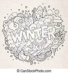 Winter hand lettering and doodles elements background.