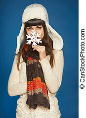 Winter happy people - woman with snowflake