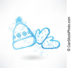Winter hat and mittens grunge icon