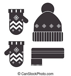Winter Hat and Scarf Silhouettes