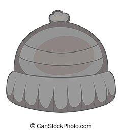 Winter hat icon, black monochrome style
