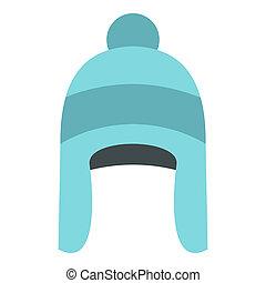 Winter hat icon, flat style