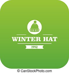 Winter hat icon green vector isolated on white background
