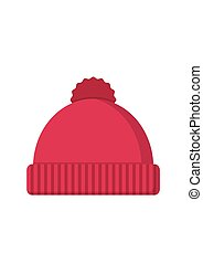 Winter hat icon in flat style isolated on white background....