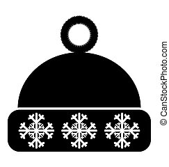 Winter hat icon on white background