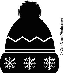 Winter hat icon on white background. Vector illustration.