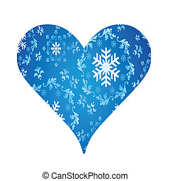Winter heart of snowflakes vector