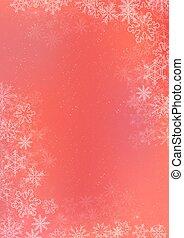 winter, helling, papier, achtergrond, grens, sneeuwvlok, rood