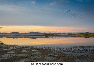 winter, hemel, meer, ondergaande zon , vurig, landscape