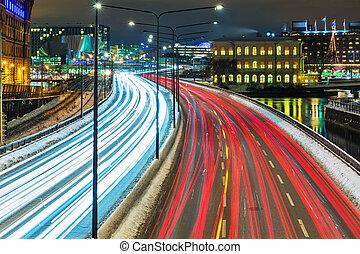 Winter highway traffic in Stockholm, Sweden