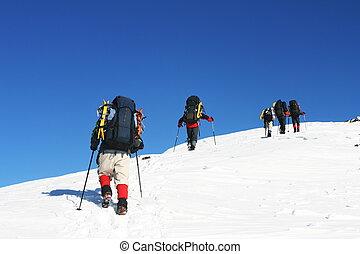 Winter hike - Hike in winter mountain