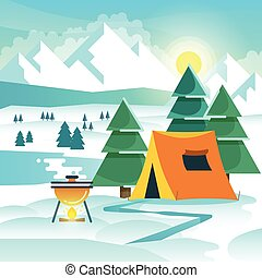 Winter hiking vector background with tent and bonfire