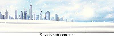 winter, hintergrund, verschneiter , stadt, landschaftsbild, horizontal, banner, schneewittchen, gebäude, blauer himmel, weihnachten, begriff