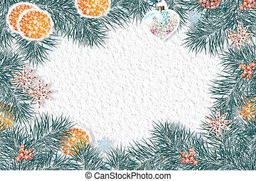 winter, hintergrund., weihnachten, zusammensetzung, mit, fichte, zweige, und, gifts.