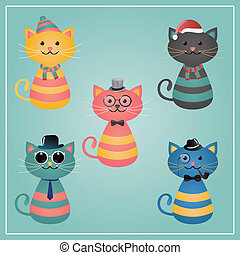 Winter Hipster Cats Illustration - Cute Winter Funny Hipster...