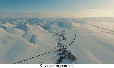 winter., hiver, sur, voler, montagnes., route