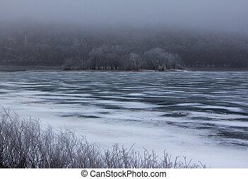 Winter Hoar Frost Over the Frozen River - Winter Hoar Frost...