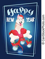 Winter Holiday 2018 Decoration Dog On Happy New Year Greeting Card