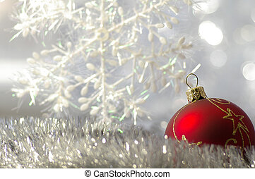 Winter holiday background - New-year adornments against the ...
