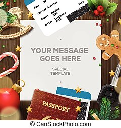 Winter holiday, Christmas travel template