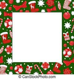 Winter Holiday Frame with Santa Stockings, Border