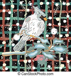 Winter Holiday Greeting Card with Cute Hand Drawn Cardinal Bird