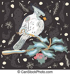 Winter Holiday Greeting Card with Cute Hand Drawn Cardinal Bird on the Rowan Tree. Pastel Blue Background
