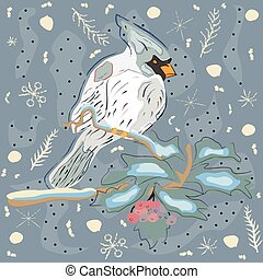 Winter Holiday Greeting Card with Cute Hand Drawn Cardinal Bird