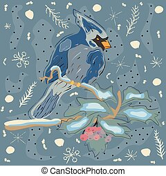 Winter Holiday Greeting Card with Cute Hand Drawn Cardinal Bird on the Rowan Tree