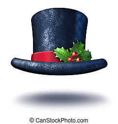 Winter Holiday Hat - Winter holiday top hat with green...