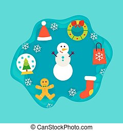 Winter Holiday Papercut Concept. Vector Illustration. Merry...