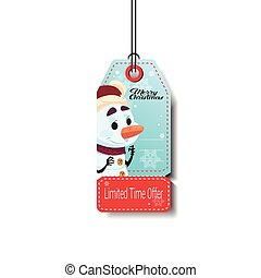 Winter Holiday Sale Tag With Snowman Christmas Discounts Isolated On White Background