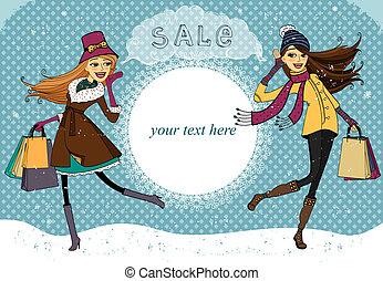 Winter holiday shopping promo banner vector illustration