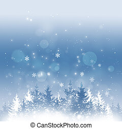 Winter Holiday Time - abstract winter background with trees,...