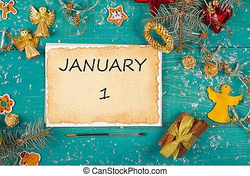 Winter holidays background. January 1