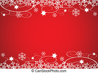 Decorative Christmas illustration with snowflakes, flowers and vines, red background.