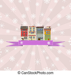 Winter holidays card with houses 4