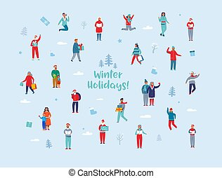 Winter Holidays Characters. Happy People in Different Winter Activities with Shopping Bags and Gifts. Man and Woman in Warm Clothes, Santa Claus. Vector illustration