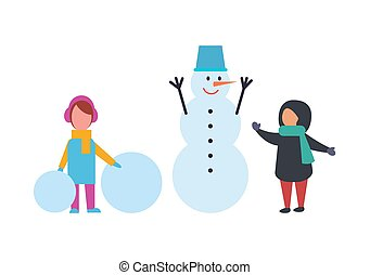 Winter Holidays Children Playing Outdoor Vector