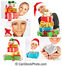 Winter holidays concept Christmas collage