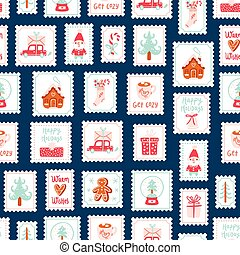 Winter holidays decorative post stamps seamless pattern
