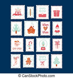 Winter holidays decorative post stamps set
