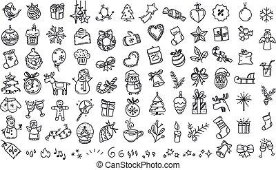 Winter holidays doodle elements vector set