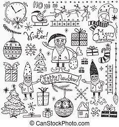 Winter holidays - doodles set 2