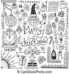 Winter holidays - doodles set 3