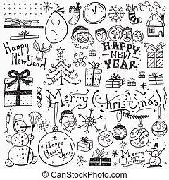 Winter holidays doodles