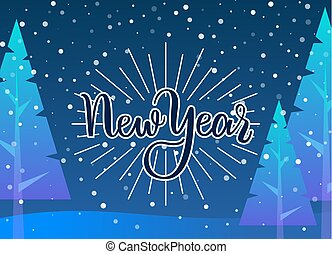 Winter Holidays Greeting Card, New Year Vector